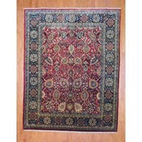 Herat Oriental Indo Hand-knotted Mahal Red/ Black Wool Rug - 8' x 10'