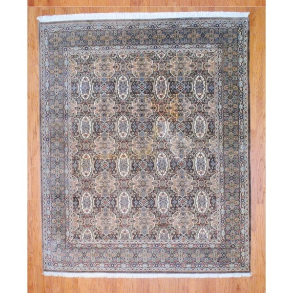 Indo Hand-knotted Light Brown/ Ivory Tabriz Wool Rug (8' x 10')