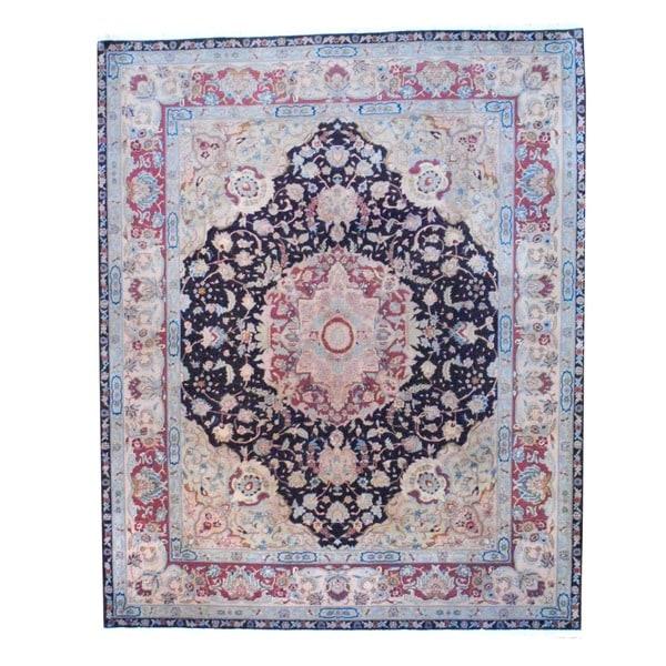 Herat Oriental Indo Hand-knotted Tabriz Dark Brown/ Beige Wool Rug (8' x 10')