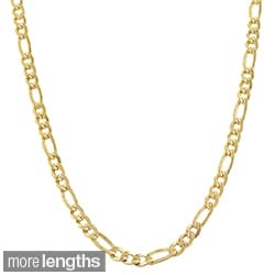 Fremada 14k Yellow Gold-filled Solid Figaro Link Chain Necklace
