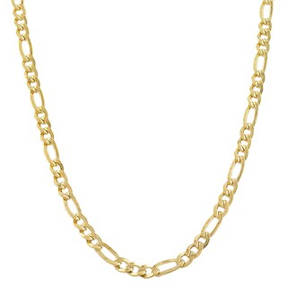 Fremada 14k Yellow Gold-filled Solid Figaro Link Chain Necklace (More options available)
