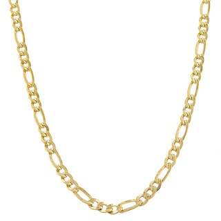 Fremada Yellow Gold-filled Solid Figaro Link Chain Necklace