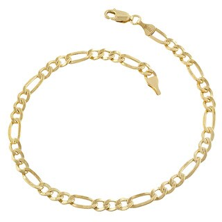 Fremada Yellow Gold-filled Figaro Link Bracelet (8.5 inch)