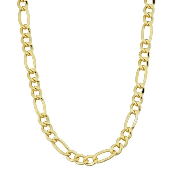 figaro chains inches gold product fremada watches jewelry yellow necklace chain link filled