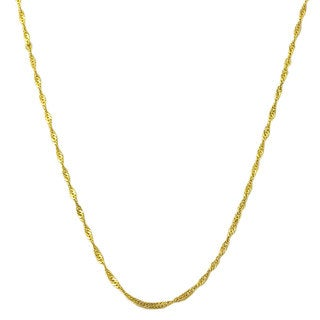 Fremada 14k Yellow Gold Singapore Chain Necklace (14-30 inch) (5 options available)
