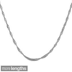 Fremada 14k White Gold Singapore Chain Necklace (16-30 inch)