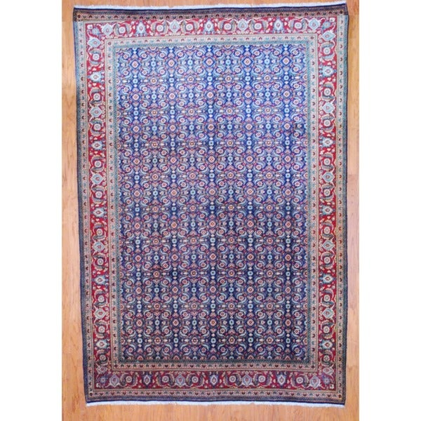 Persian Hand-knotted Navy/ Red Tabriz Wool Rug (8' x 11'5)