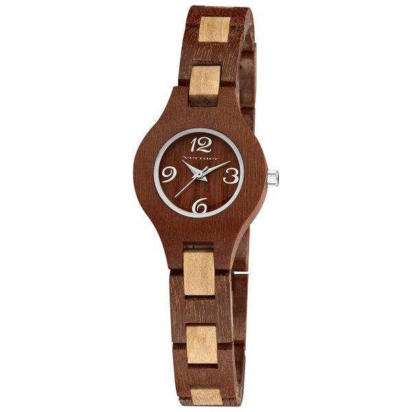 Vernier Women's Feminine Wood Link Bracelet Watch