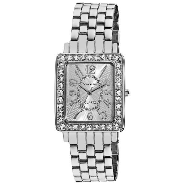 Vernier Women's Dazzling Rectangular Case Easy Read Silver-Tone Bracelet Watch