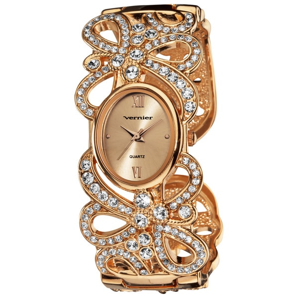 Vernier Women's Fashion Rose Sparkle Ribbon Bangle Watch