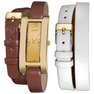 Vernier Women's Goldtone Interchangeable Double Wrap Leather Watch