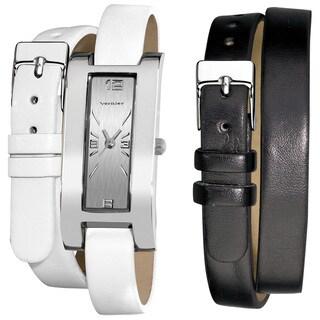 Vernier Women's Silvertone Interchangeable Double Wrap Leather Watch