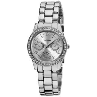 Vernier Women's Silver Feme-Fashion Faux Chrono Quartz Bracelet Watch|https://ak1.ostkcdn.com/images/products/7310762/7310762/Vernier-Womens-Silver-Feme-Fashion-Faux-Chrono-Quartz-Bracelet-Watch-P14781014.jpg?impolicy=medium