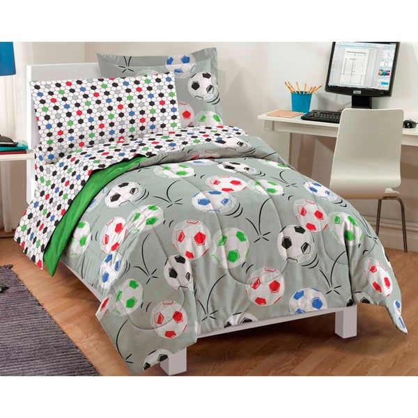 Dream Factory Soccer 7-piece Bed in a Bag with Sheet Set