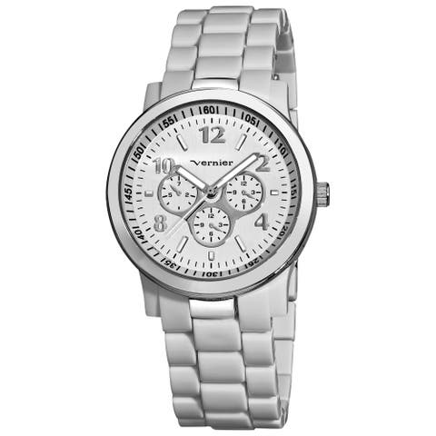 Vernier Women's Silver-Tone Case White Resin Bracelet Watch