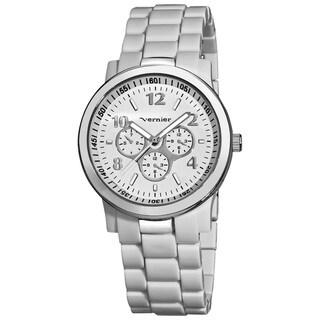 Vernier Women's Silver-Tone Case White Resin Bracelet Watch