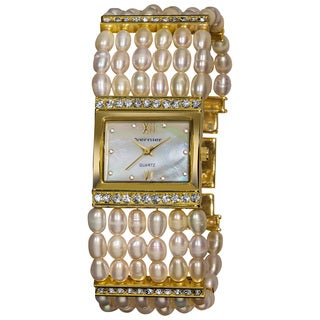 Vernier Women's Rectangular Gold Case Fresh Water Pearl Bracelet Watch