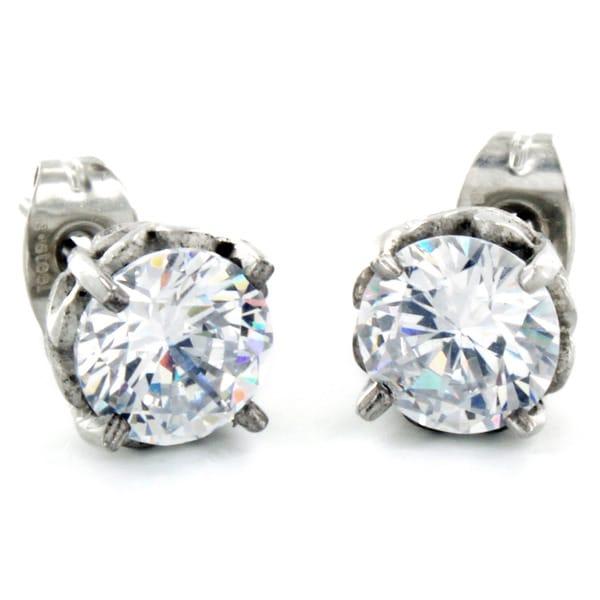 Stainless Steel Cubic Zirconia Dazzling Earrings