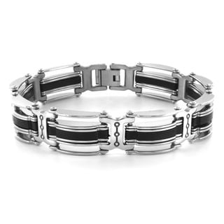 Crucible Men's Stainless Steel Black Rubber Inlay Link Bracelet - 8.5 inches
