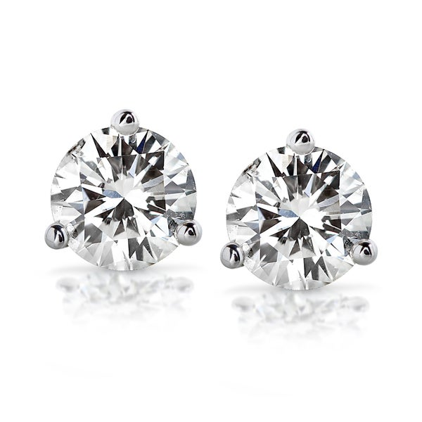 Annello by Kobelli 14k White Gold 2ct TDW Certified Round Diamond Stud Earrings (GH/SI3-I1)
