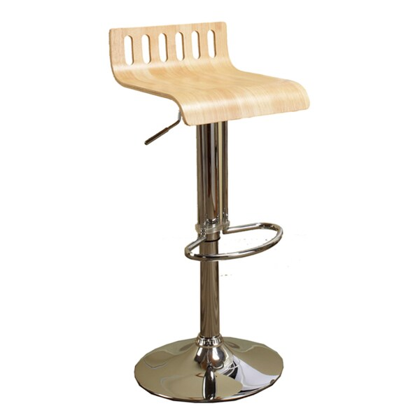 K&B Adjustable Birch Bent Wood/ Chrome Finish Bar Stool