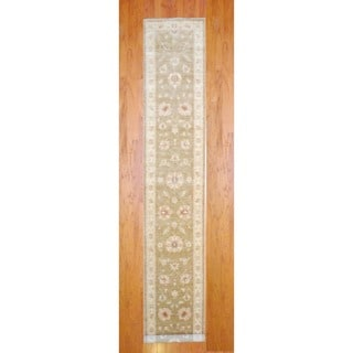 Herat Oriental Afghan Hand-knotted Oushak Light Vegetable Dye Brown/ Ivory Wool Runner (2'9 x 17'6)