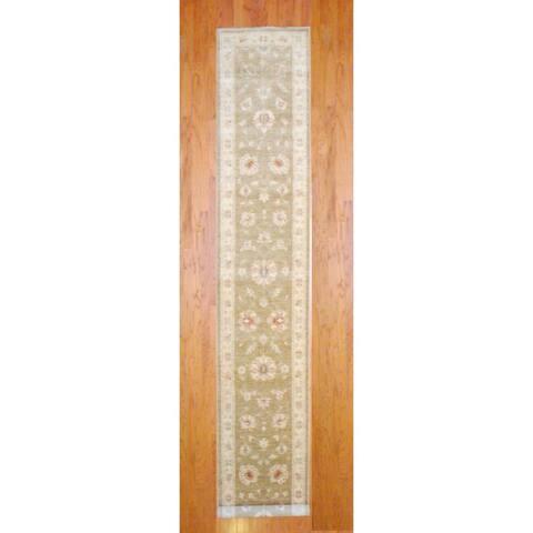 """Handmade Herat Oriental Afghan Oushak Vegetable Dye Wool Runner (Afghanistan) - 2'9"""" x 17'6"""""""