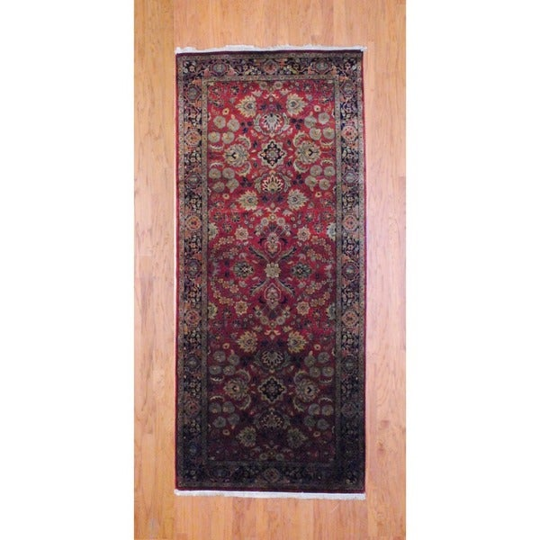 Indo Hand-knotted Burgundy/ Navy Mahal Wool Runner (4' x 10')