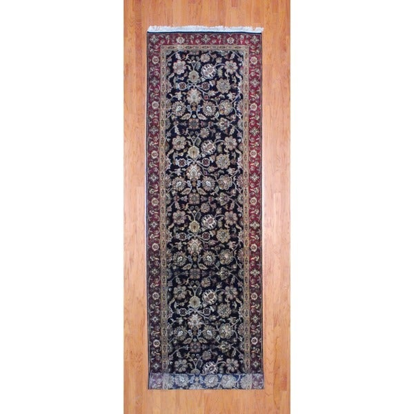 Indo Hand-knotted Black/ Burgundy Mahal Wool Runner (3'11 x 16'2)