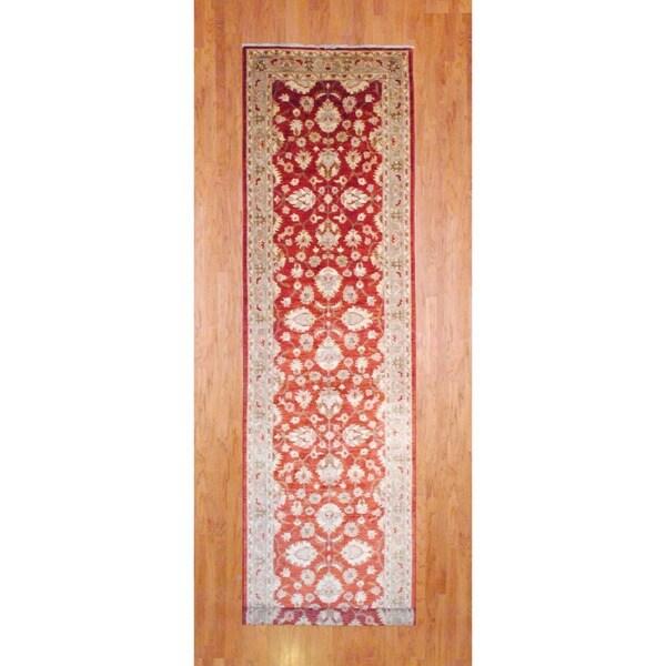 Afghan Hand-knotted Rust/ Green Vegetable Dye Wool Runner (4' x 18')
