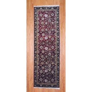 Herat Oriental Indo Hand-knotted Mahal Wool Runner (3u00279 x 11u0027
