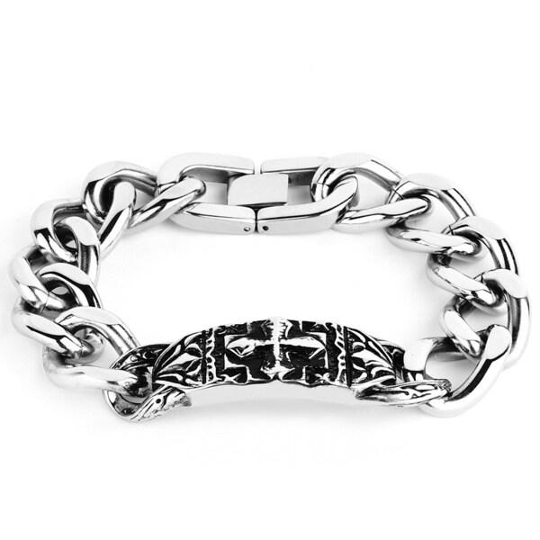 Crucible Stainless Steel Ornate Gothic Cross Plate Link Bracelet