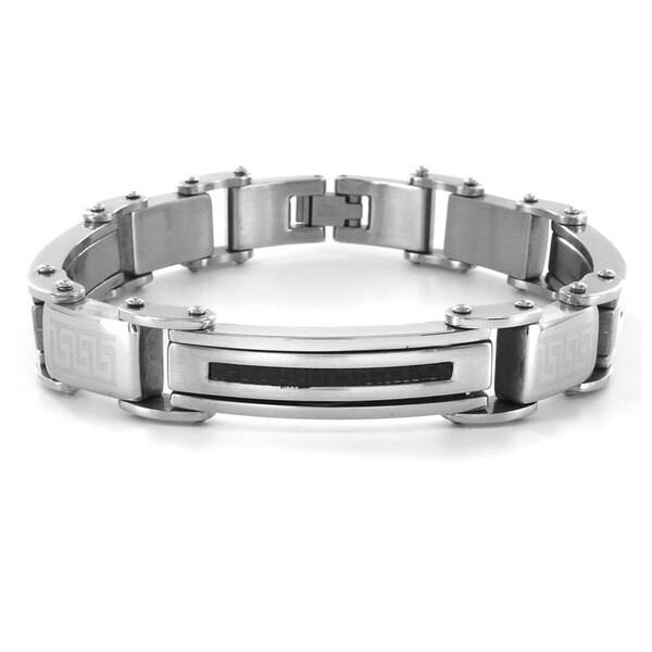 Crucible Stainless Steel Thin Carbon Fiber Inlay Men's Bracelet