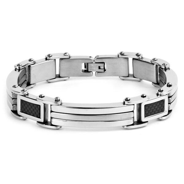 Crucible Stainless Steel Rectangular Carbon Fiber Links Bracelet