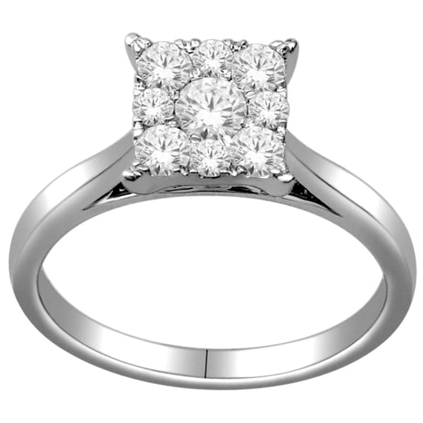 De Couer 10k White Gold 1/2ct TDW Multi Stone Princess Shape Diamond Ring