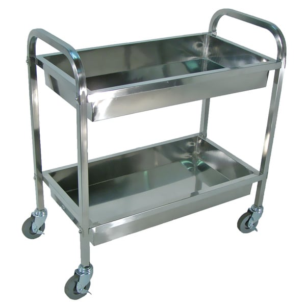 Stainless Steel Large 2-shelf Tub Cart