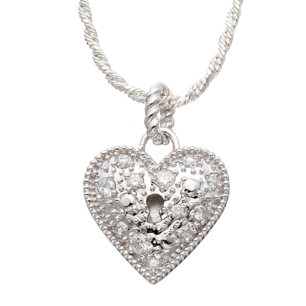 Sterling Silver 1/4 CT TDW Round Diamond Heart Padlock Necklace (H-I I2)
