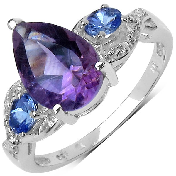 Malaika Sterling Silver 1 3/4ct TGW Amethyst and Tanzanite Ring