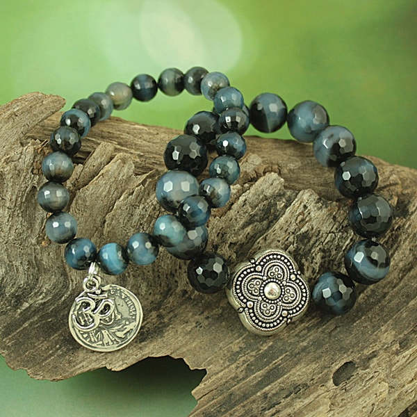 Handcrafted Agate Antique Petal, Coin and OM Charm Stretch Bracelet (USA)
