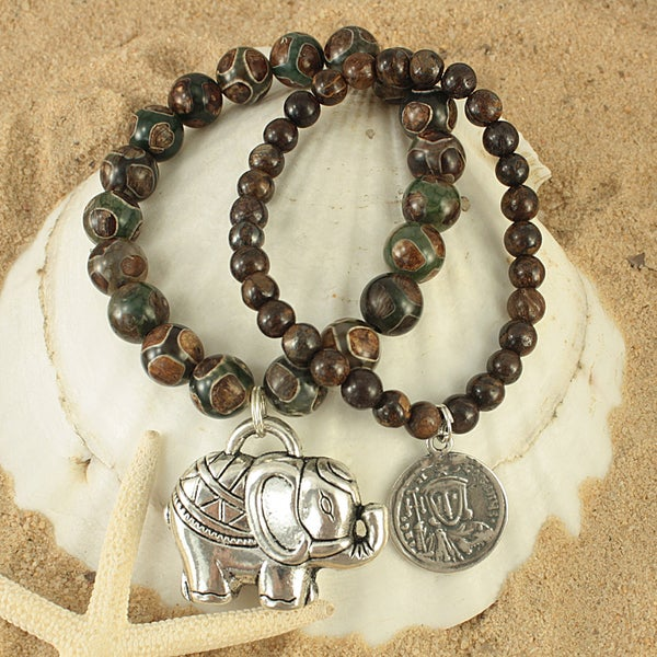 Handcrafted Coffee Agate and Bronzite with Antique Elephant and Coin Charm Bracelet (USA)