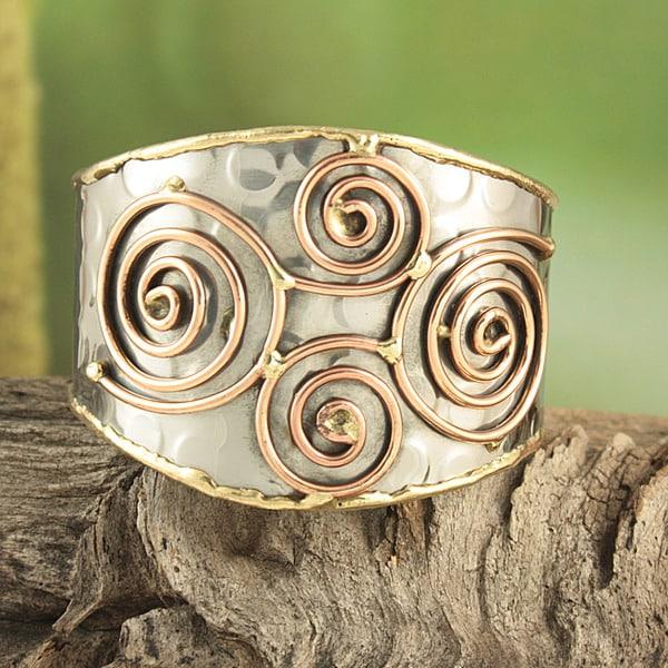 Handmade Hammered Brass and Copper Swirls Cuff Bracelet (India)