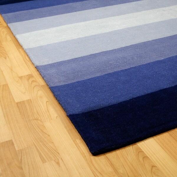 Hand-tufted Blue Stripes Wool Rug - 5' x 8'