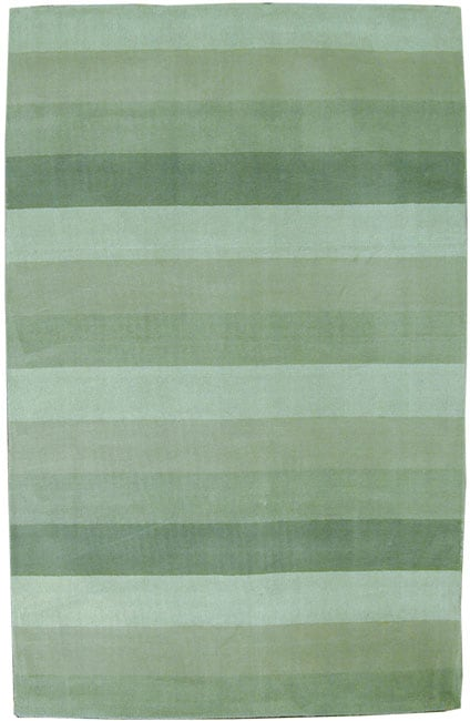 Hand-tufted Green Stripes Wool Rug (5' x 8')