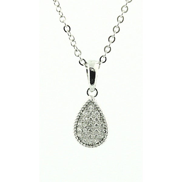 Sterling Silver 1/3ct TDW Diamond Teardrop Necklace (H-I, SI1-SI2)
