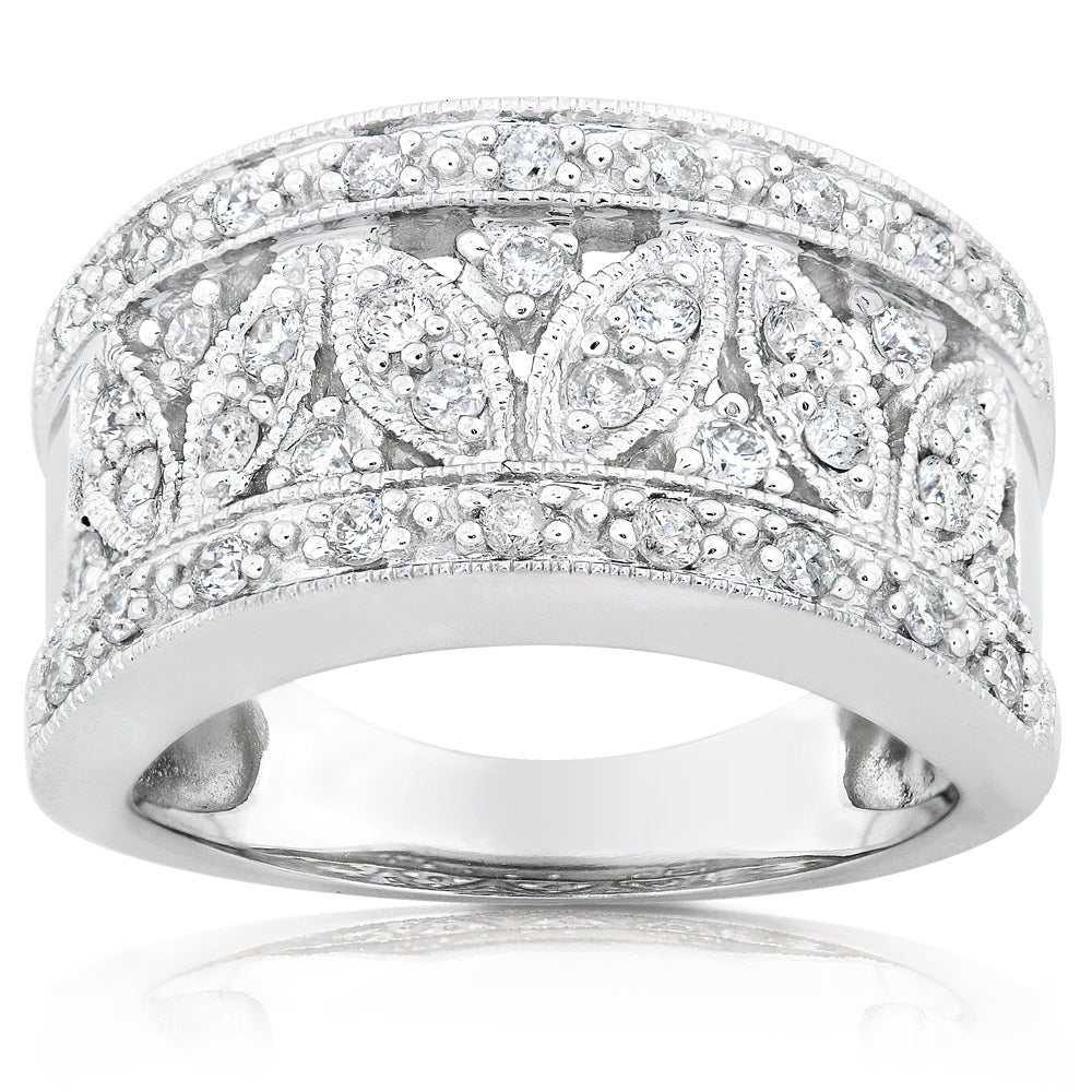 Size-4.25 G-H,I2-I3 Diamond Wedding Band in 14K White Gold 1//20 cttw,
