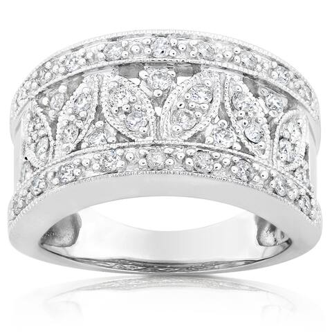 Annello by Kobelli 14k White Gold 1/2ct TDW Diamond Floral Anniversary Ring