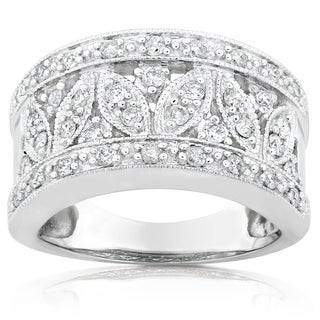 Annello 14k White Gold 1/2ct TDW Diamond Floral Anniversary Ring