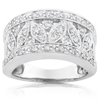 Annello by Kobelli 14k White Gold 1/2ct TDW Diamond Floral Anniversary Ring