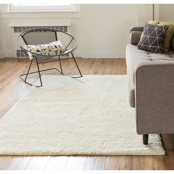 Well Woven Plush Plain Vanilla Ivory Off White Area Rug 6