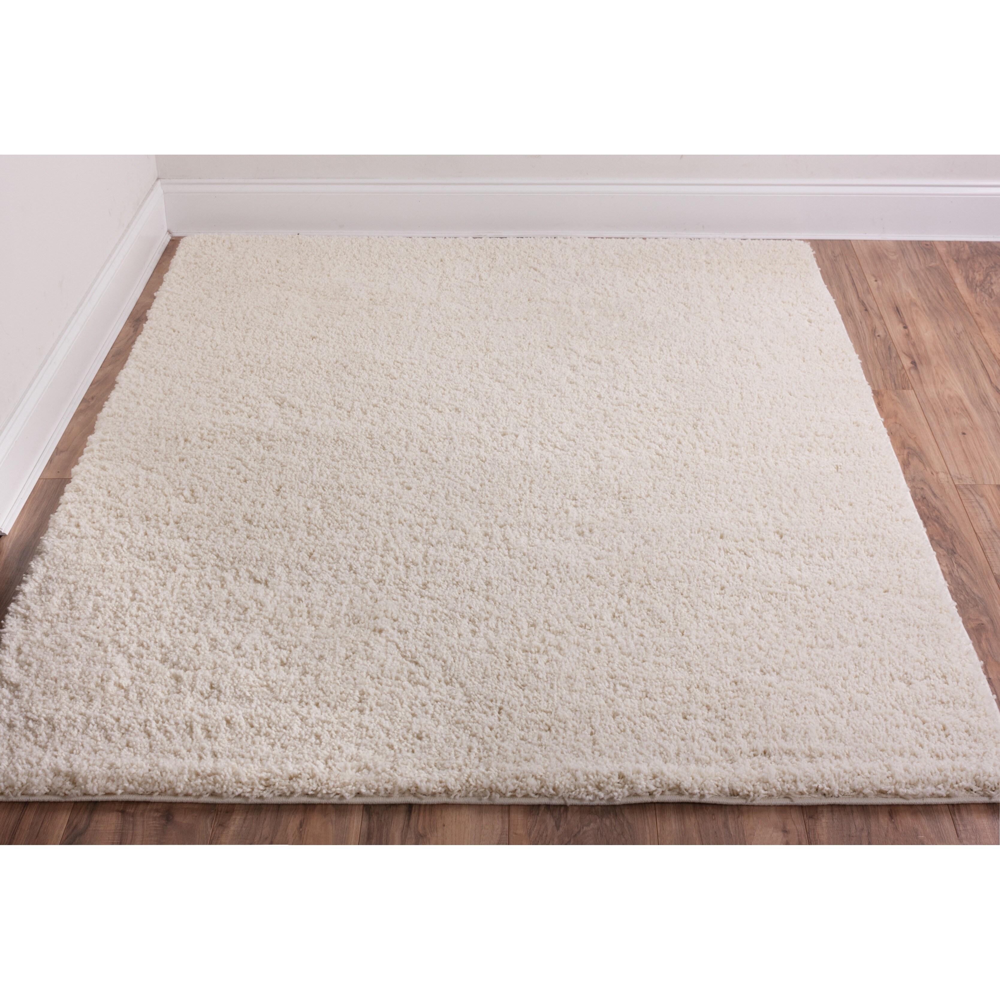 Infinity Home Source Shag Plus Area Rug Plain Vanilla 3'3...